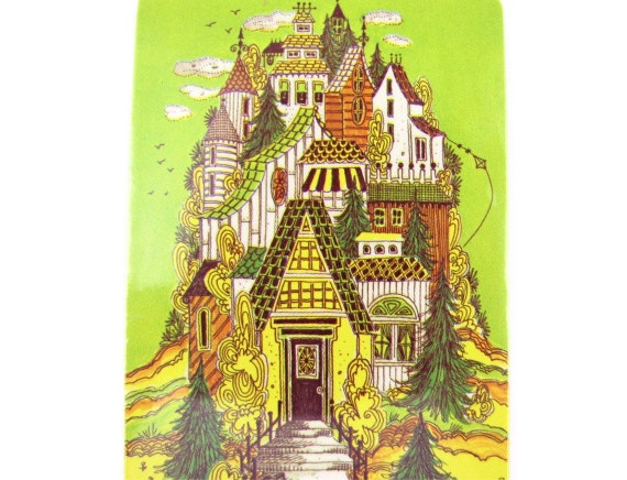 Home on a Hill - Vintage 1970s Judy Hagstrom Playing Cards with a Whimsical Victorian House Illustration, Lime Green & Yellow, Sealed Deck