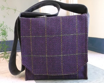 Deep Purple Plaid Wool Messenger Bag