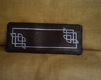 Handmade  Leather CELTIC WALLET in Black and Metallic Blue