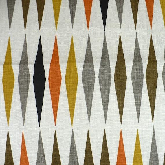 Mid Century Modern Fabric Linen 1 5 Yards Diamond Pattern