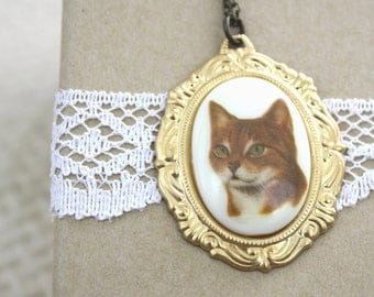 Cat Necklace Tabby Cat Cameo / SAMPLE SALE