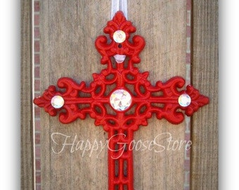 Wall Cross - Iron & Rhinestones - CHERRY RED (or your color choice)