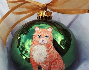 Orange Tabby Kitty Kitten Cat Hand Painted Christmas Ornament - Can Be Personalized with Name