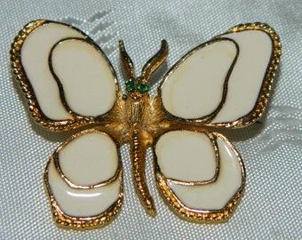Vintage Florenza Enamel Butterfly Brooch Pin