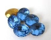 Vintage Glass Rhinestone Medium Sapphire Blue Oval Jewel 10x8mm rhs0362 (6)