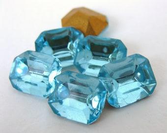 Vintage Glass Rhinestone Jewel Aquamarine Octagon Aqua 10x8mm rhs0306 (6)