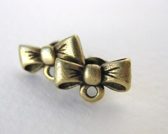 Antiqued Brass Ox Bow Earring Post Ear Stud Earwires Vintage Style Finding erw0111 (2 pc, 1 pair)