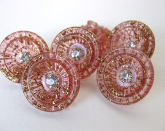 Vintage Rhinestone Buttons Pink Tinsel Cup Plastic Shank Austria but0159 (6)