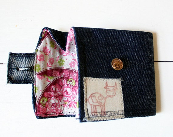 SALE Fabric Wallet in Denim and Pink Floral. Vintage Button Closure. Eco Friendly. Clearance. Sale S a l e
