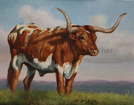 Texas Longhorn Steer cattle cow art original oil painting farm