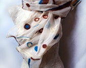 Nuno Felted scarf merino on silk chiffon Azure and Brown Geometric nuno felt silk scarf MADE to Order