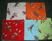 "80   Sock Monkey Fabric Squares    5"" x 5"""