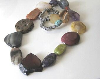 Semi Precious Stone Beads Multi Color Earth Tones Amber Purple Burgundy Yellow  Rock Collector necklace Organic Long