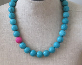 Turquoise Pink Chunky Beaded necklace Azure Blue Hot Pink Fuschia Asymmetrical Blue Sky Bright