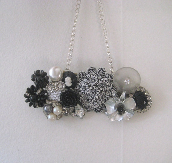 """Black White Silver Necklace Vintage brooch Collage Cameo Goth Owl Steampunk Shabby Chic OOAK """"Silver Rose"""""""