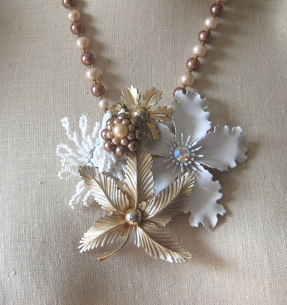 RESERVED for KIMIE Gold White  Vintage Brooch Collage Taupe Cocoa Brown Enamel Flower Power Nutmeg Coffee Orchid OOAK