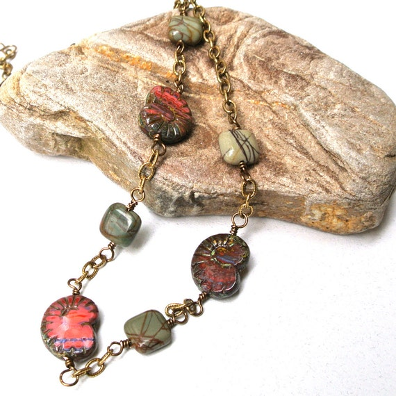 Necklace, Glass Ammonite and Jasper Beads on Brass Chain