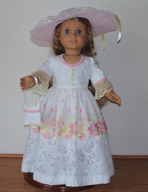 Beautiful Summer Tea dress Created for American Girl doll  Felicity or Elizabeth  No. 482