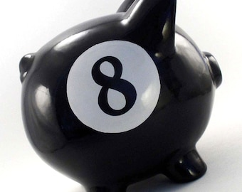 8 Ball Piggy Bank - Personalized Piggy Bank - Pool Ball Bank - Billiard Ball Piggy Bank - Magic 8 Ball Bank - with hole or NO hole in bottom