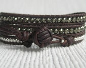 Pyrite and Sterling Silver 3X Leather Wrap Bracelet