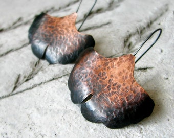 Ginkgo leaf earrings hammered copper earrings ombre oxidized sterling silver woodland nature autumn fashion  rustic modern - Ombre Ginkgo