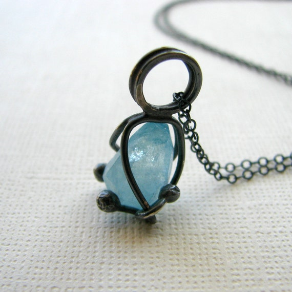 Gemstone necklace, aquamarine, sterling silver necklace,  metalwork, ocean, blue, rustic - Sunken Treasure