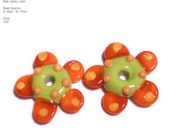 PAIRS 267 Lampwork Bead Pair Handmade Lime Green  Melon Red FLOWERS Matched beads Perfect for Accents and Earrings