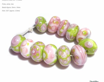 PINK TUMBLERS Lampwork Beads Set of 12 Pink Lime Green Dark Pink White FLirty COlors