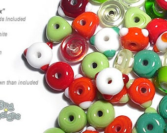 ACCENT Handmade Lampwork Beads 15 Spacers Christmas Colors Green Red White by Desert Bug Designs