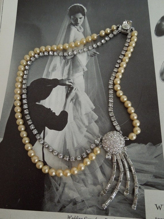 Faux Pearl and Rhinestone Necklace with Art Deco Feel
