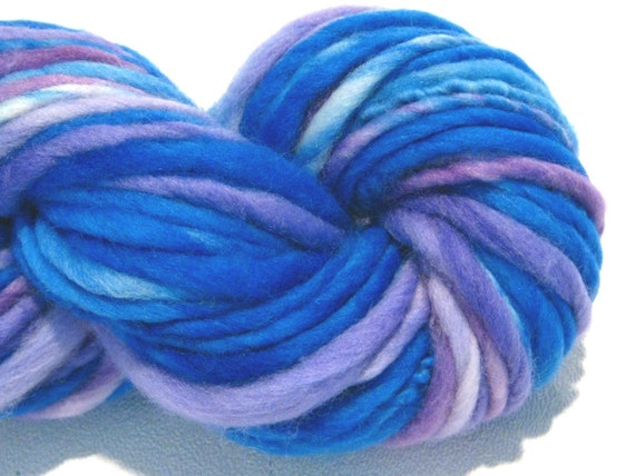 thick and thin bulky handspun yarn Purple Skies purplel violet blue merino wool yarn, 70 yards