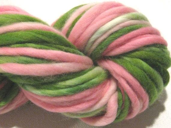 handspun yarn Tiptoe Through The Tulips thick and thin bulky singles merino yarn, 44 yards, hand dyed merino wool top