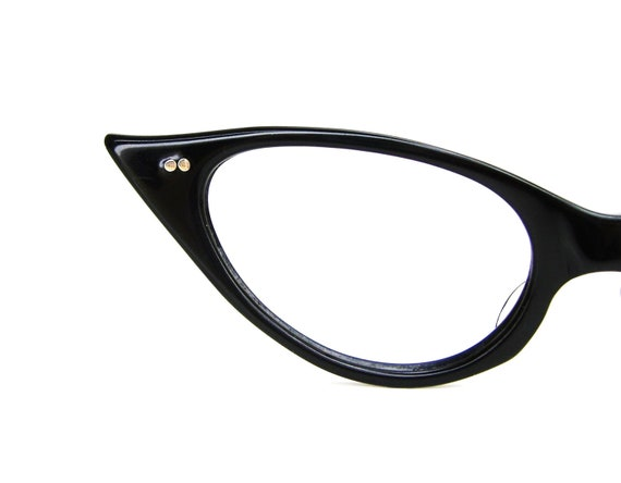 Vintage 1950s Black Cat Eye Eyeglasses Sunglasses Frame Mint