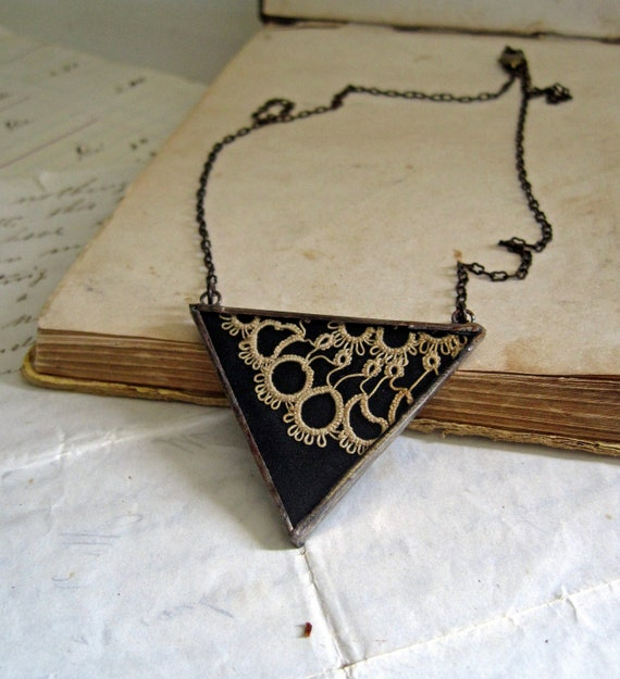 Reserved for Nikki   By Request Black and Tatted Triangle Necklace
