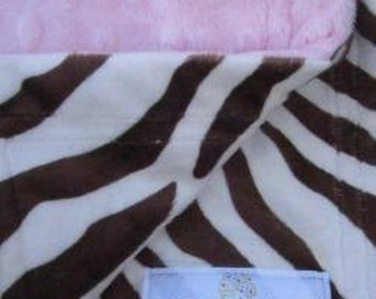 Pink dot and chocolate zebra minky lovey