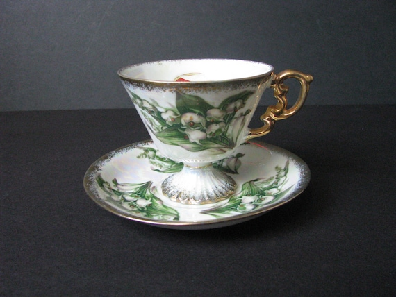 Vintage Sterling China Footed Tea Cup & Saucer May Lily of The Valley