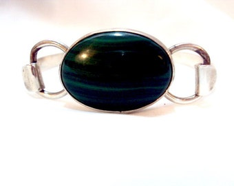 Sterling Silver Malachite Stone Bracelet, Bangle Signed Mathews Sterling