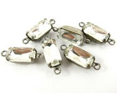 6 - Vintage Glass Octagon Stones in 2 Rings Silver Antique Brass Prong Settings - Crystal - 10x5mm ...