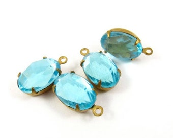 4 - Vintage Glass Oval  Faceted Stones in 1 Ring Closed Back Brass Prong Settings - Aqua - 12x8mm