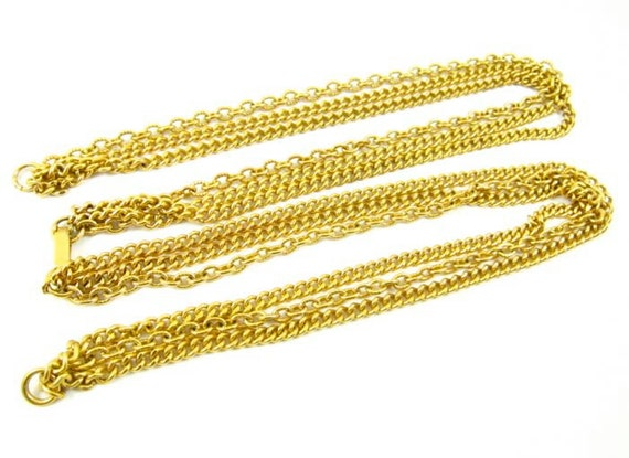 1 pc Vintage Triple-Strand Chain with Foldover Clasps - CN5 .