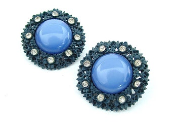 Carved Celluloid Moon Glow Rhinestone Vintage Clip On Earrings