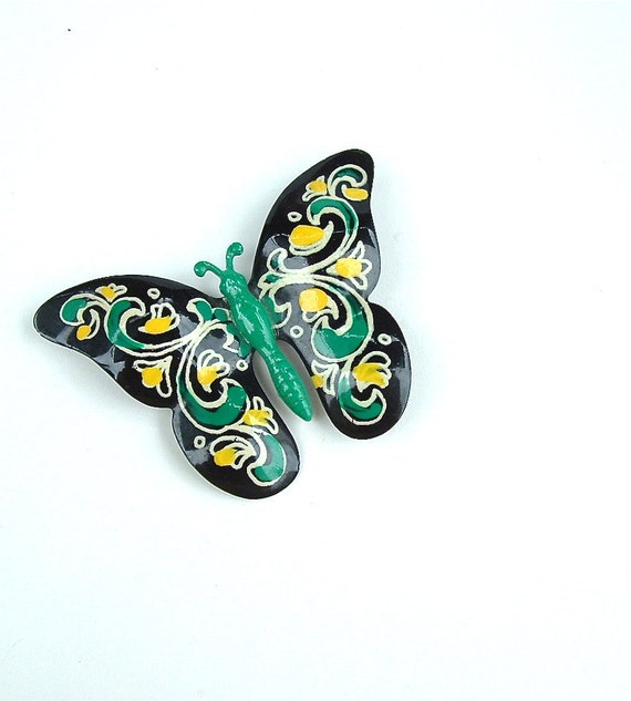 Vintage Brooch - Hand Painted Butterfly - Swirls