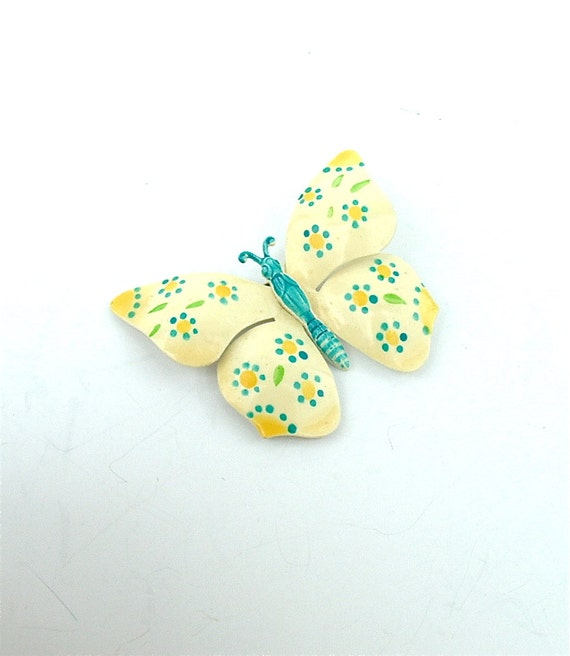 Retro Butterfly Brooch Vintage Jewelry Accessories West Germany Pastel Yellow Turquoise Polka Dots
