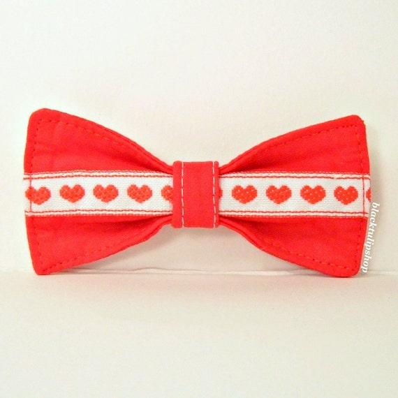 Kawaii Lolita Red Sweet Heart Bow French Barrette Clip Ribbon SALE