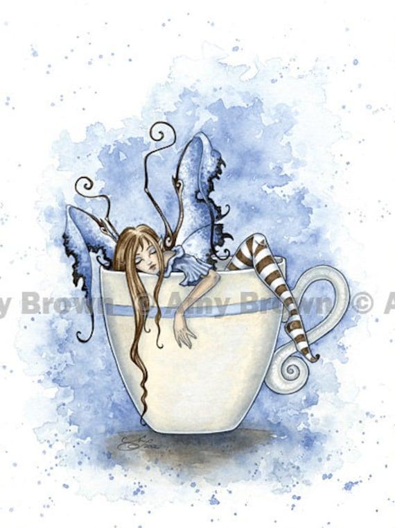 I Need COFFEE FAIRY 8.5x11 PRINT By Amy Brown