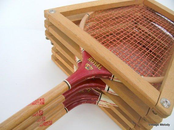 Vintage Badminton Rackets Set of 4 with Wood Presses
