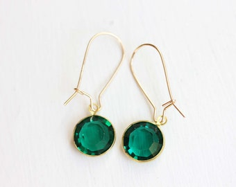 Green Crystal Earrings, Crystal Earrings, Green Drop Earrings, Green Earrings, Green Dangle Earrings, Stone Earrings, Gold Filled Earrings