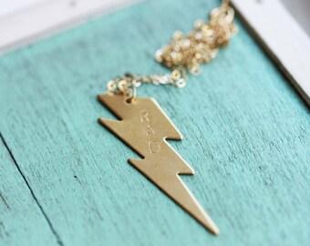 Lightning Bolt Necklace, Rad Necklace, Stamped Necklace, Charm Necklace, Brass Necklace, Gold Filled Necklace