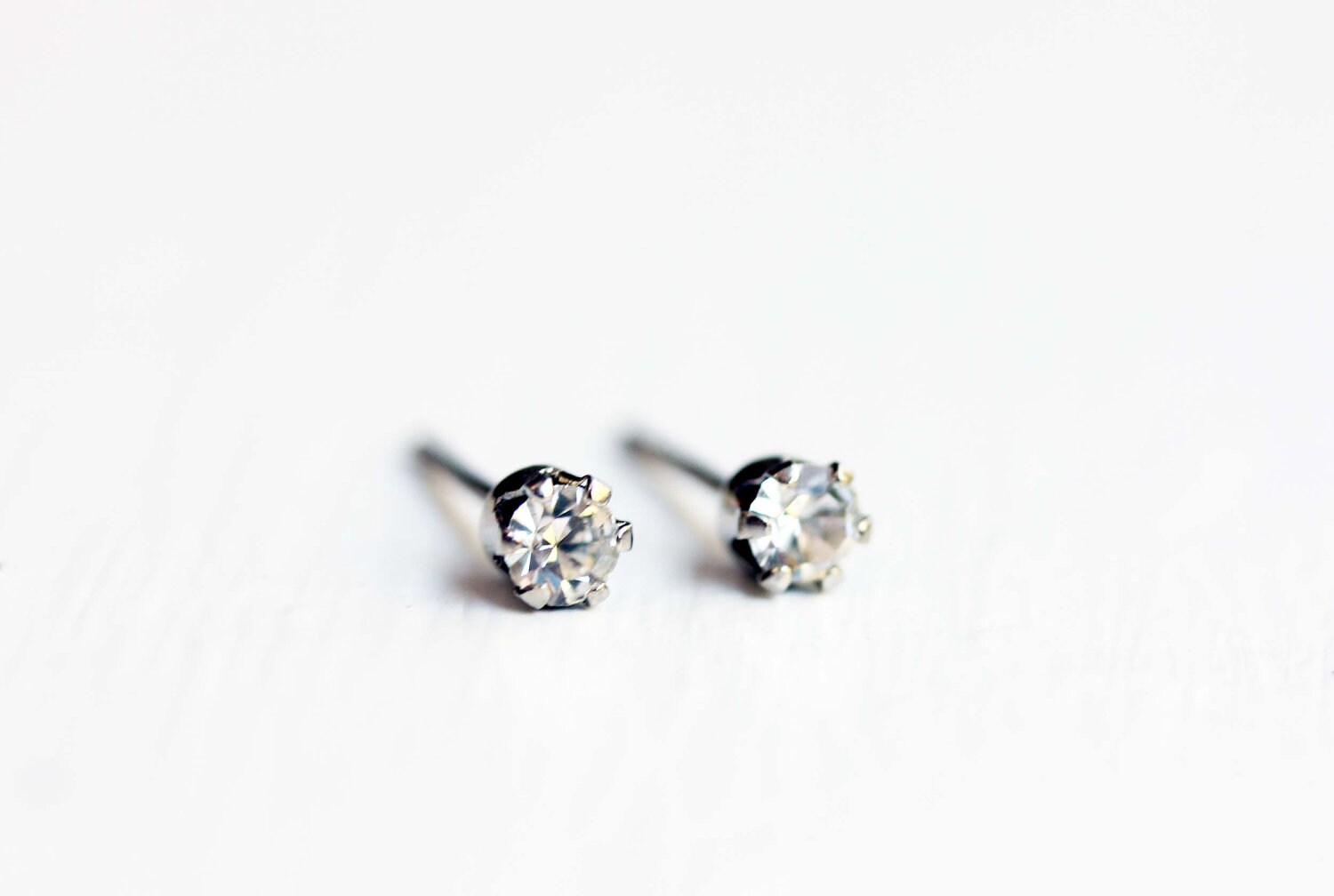Tiny Diamond Stud Earrings For Second Hole