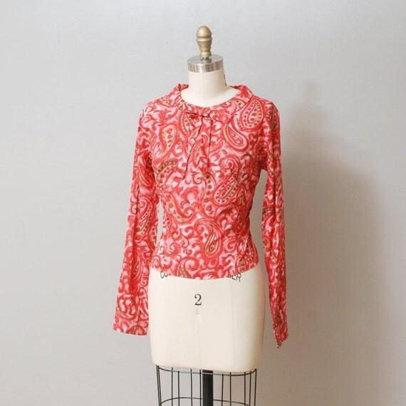 1950s Blouse - Pink Ascot Paisley Top - Deadstock